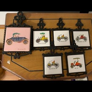 Awesome set of 6 trivets with old cars